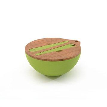Set saladier avec couvercle et couverts en fibre de bambou - Saladier plastique avec couvercle ...