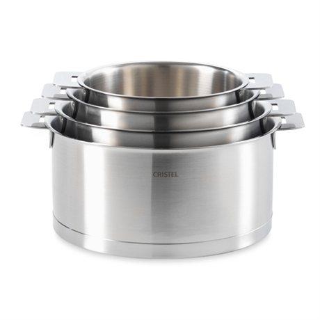 4 casseroles strate 14 16 18 et 20 cm cristel batteries de cuisine mat riel de cuisson. Black Bedroom Furniture Sets. Home Design Ideas