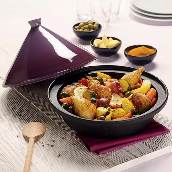 Tajine fonte 30 cm aubergine mathon plats tajines - Ustensiles de cuisine en fonte ...