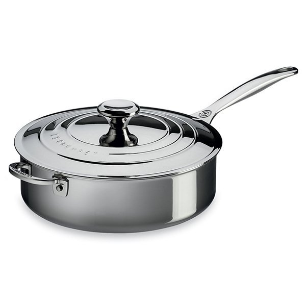 sauteuse droite inox 26 cm avec couvercle le creuset. Black Bedroom Furniture Sets. Home Design Ideas