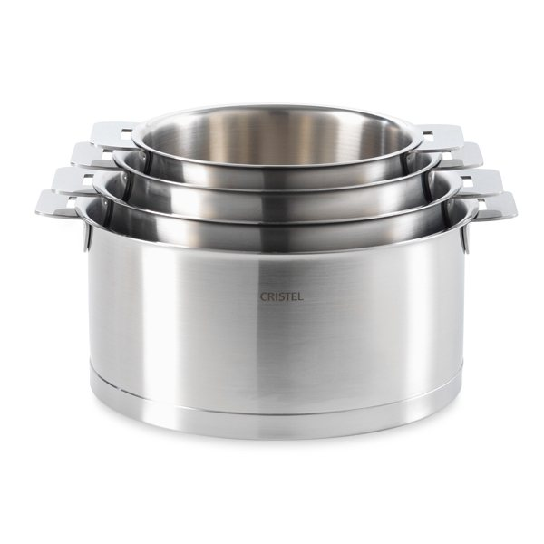 4 casseroles strate ligne l 14 16 18 et 20 cm cristel batteries de cuisin - Batterie de cuisine cristel ...