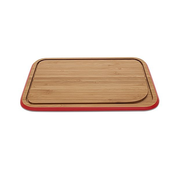 Planche d couper rouge en bambou xl pebbly planches - Planche a decouper plan de travail ...