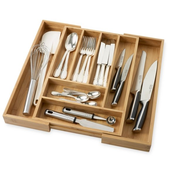 Range couverts extensible totally bamboo rangements et for Range ustensiles cuisine