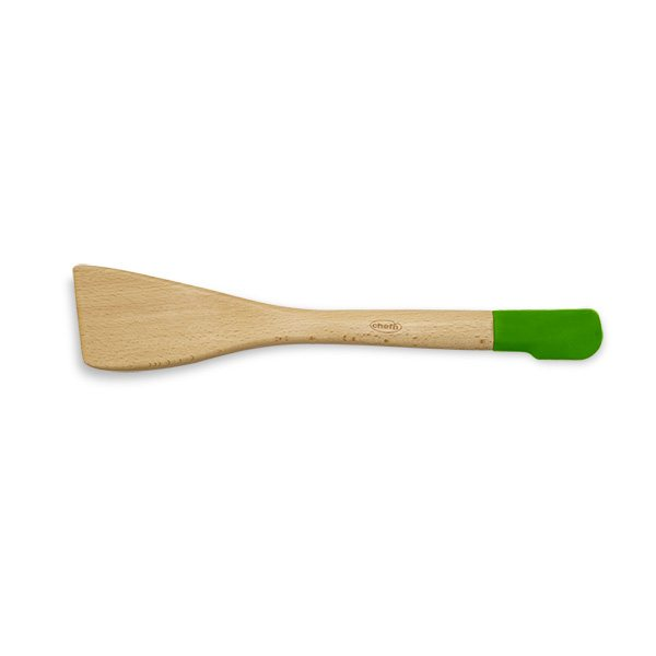 Spatule bois et silicone 2 en 1 coloris vert Chefn  Spatules, fouets  ~ Silicone Sur Bois