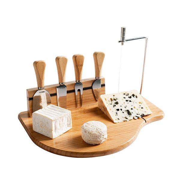 Plateau fromage et accessoires en bambou domoclip for Set de table bambou