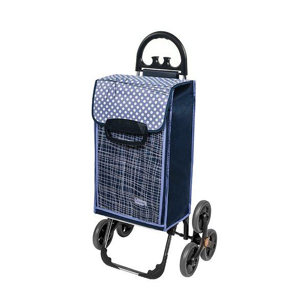 Chariot de courses 6 roues bleu chariots et paniers de for Chariot de jardin 2 roues