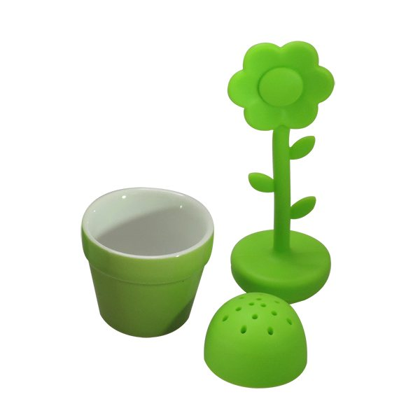 boule th fleur verte en silicone accessoires pour le petit d jeuner ustensiles de cuisine. Black Bedroom Furniture Sets. Home Design Ideas