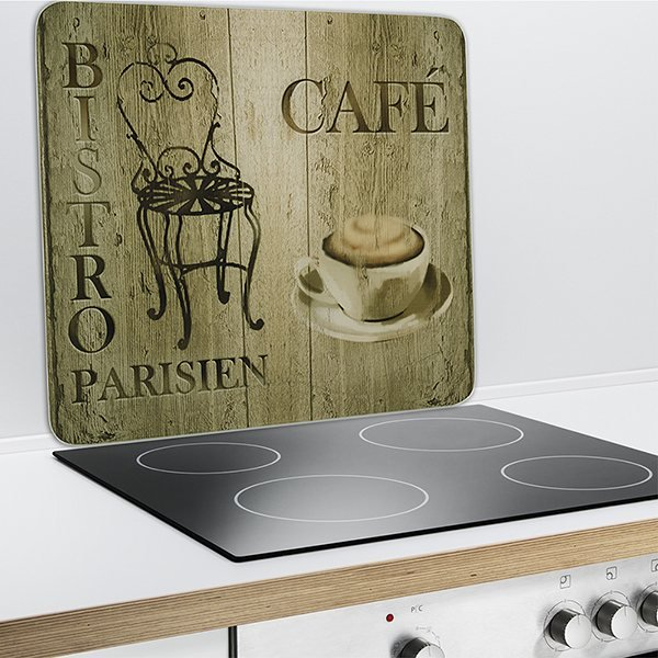 Plaque protection murale d coration bistrot wenko for Credence derriere plaque cuisson