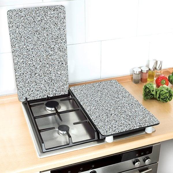 Set 2 couvre plaques protection motifs granit protection - Plaque de protection murale pour cuisine ...