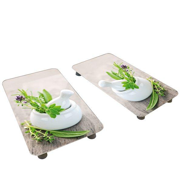 2 couvre plaques protection motifs jardin de fines herbes protection plaques de cuisson. Black Bedroom Furniture Sets. Home Design Ideas