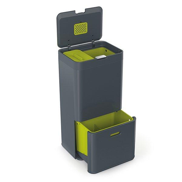 poubelle totem anthracite 60l joseph joseph poubelles de cuisine et de salle de bain. Black Bedroom Furniture Sets. Home Design Ideas