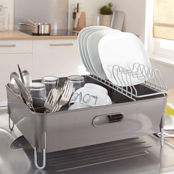 Egouttoir vaisselle avec bac et goutti re mathon for Support pour ustensiles de cuisine