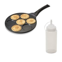 Lot Poêle 7 mini blinis ou pancakes à induction et Flacon souple 500 ml Mathon