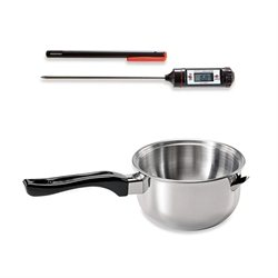 Lot Casserole bain-marie induction et Thermomètre digital de cuisine Mathon