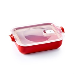 Plat rectangle hermétique céramique cerise 1,4 L Appolia