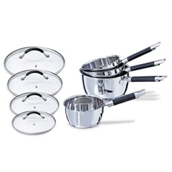 Lot 4 casseroles + 4 couvercles Rapid Cook 14 à 20 cm Mathon