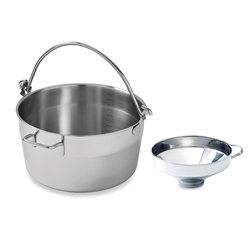 Lot bassine à confiture inox 30 cm et entonnoir 14 cm Mathon