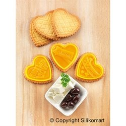 Kit moule en silicone pour biscuits coeurs au chocolat Cookie Love Silikomart