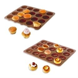 Lot de 2 Flexi'Plaques en silicone - 20 mini-muffins et 20 mini-savarins Mathon