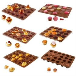 Lot de 6 Flexi'Plaques en silicone - Assortiment de mini-pâtisseries Mathon