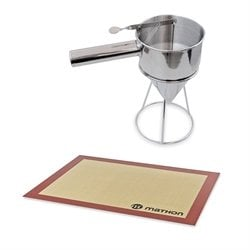 Lot Entonnoir à piston pro en inox et tapis de cuisson Mathon