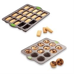 Lot plaque 20 financiers et plaque 12 muffins en silicone structure acier Rigiflex Mathon
