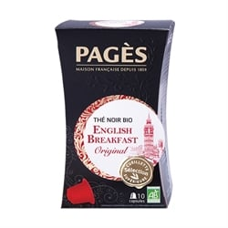 Thé noir bio English breakfast 10 capsules Pagès Pagès