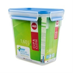 Boîte haute rectangle Clip & Close bleu 1,6 L Emsa