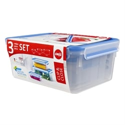 Set de 3 boîtes rectangulaires Clip & Close bleu 1 2,3 3,7 L Emsa