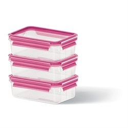 Set de 3 boîtes Clip & Close framboise 0,55L Emsa