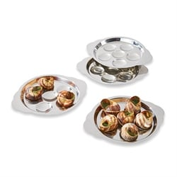 Set 4 assiettes à escargots 6 trous en inox Mathon