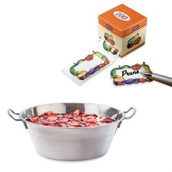 Lot Bassine à confiture 38 cm et 100 étiquettes autocollantes décor fruits