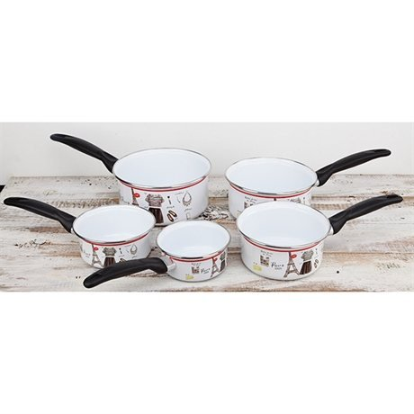 Set 5 casseroles en émail 12-20 cm PARIS