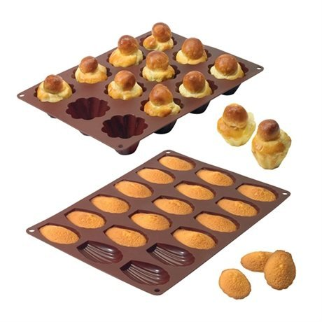 Lot de 2 Flexi'moules : 1 plaque 18 madeleines + 1 plaque 12 briochettes Mathon