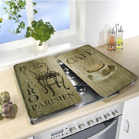 set 2 couvre plaques protection motifs bistrot. Black Bedroom Furniture Sets. Home Design Ideas