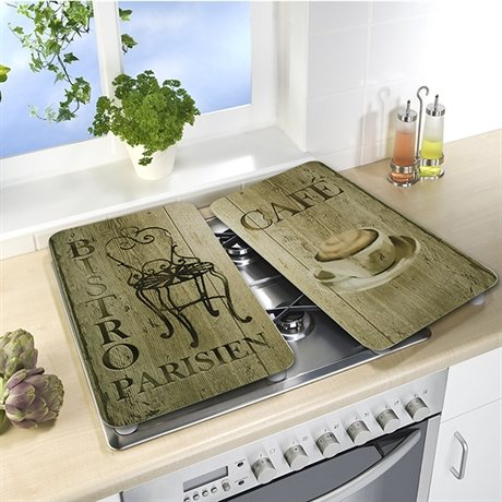 Set 2 couvre plaques protection motifs bistrot for Couvre plaque de cuisson