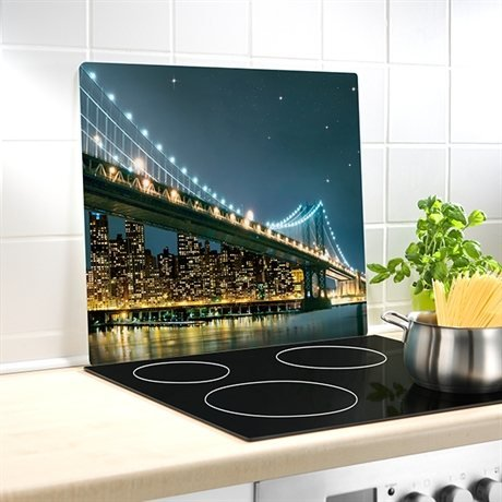 Cr dence de cuisine en verre motif brooklyn bridge for Credence derriere plaque cuisson