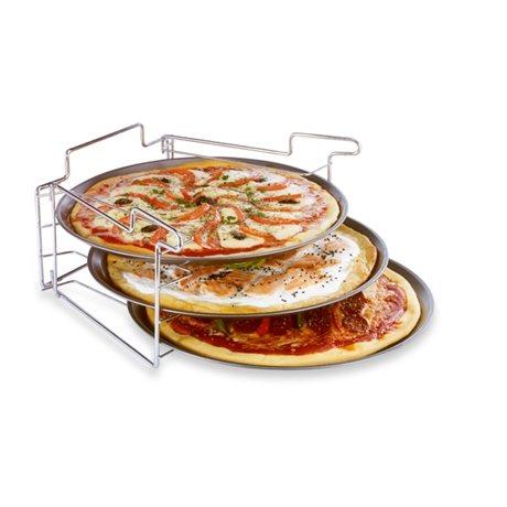 3 plaques pizza avec support plaques et grilles de cuisson mat riel de cuisson. Black Bedroom Furniture Sets. Home Design Ideas