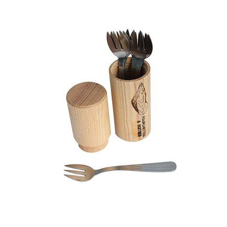 6 fourchettes a huitres et fourreau en bois roger orf vre ustensiles poissons crustac s. Black Bedroom Furniture Sets. Home Design Ideas