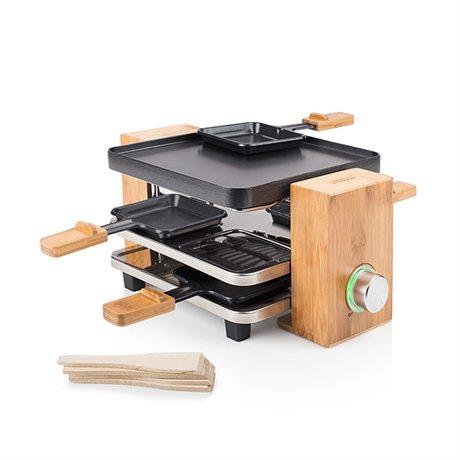 Appareil raclette pure en bambou 4 personnes raclettes for Appareil cuisine conviviale