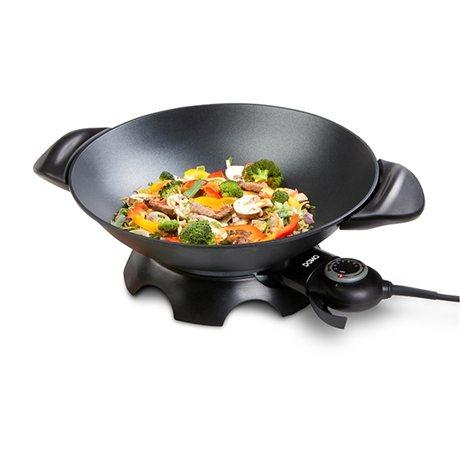 wok lectrique en aluminium 5 l domo raclettes fondues et cuisine conviviale petit. Black Bedroom Furniture Sets. Home Design Ideas