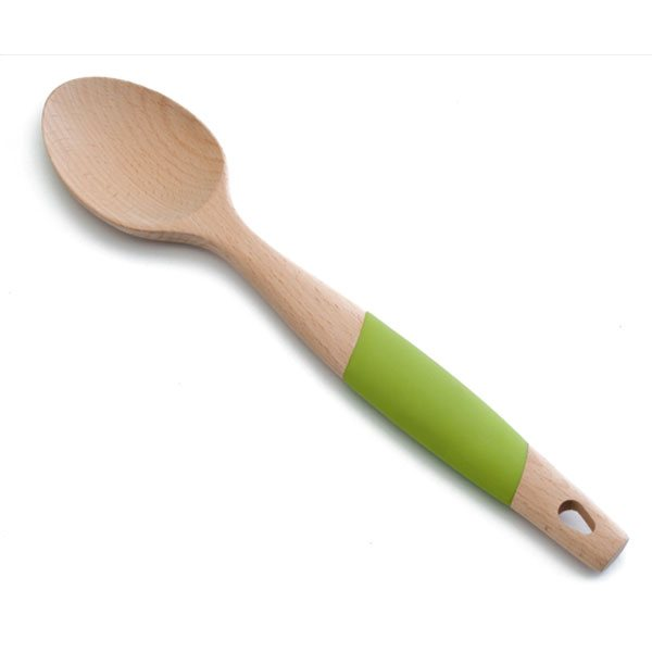 Cuill re lisse en bois et silicone 34 cm cuill res for Ustensile de cuisine en x