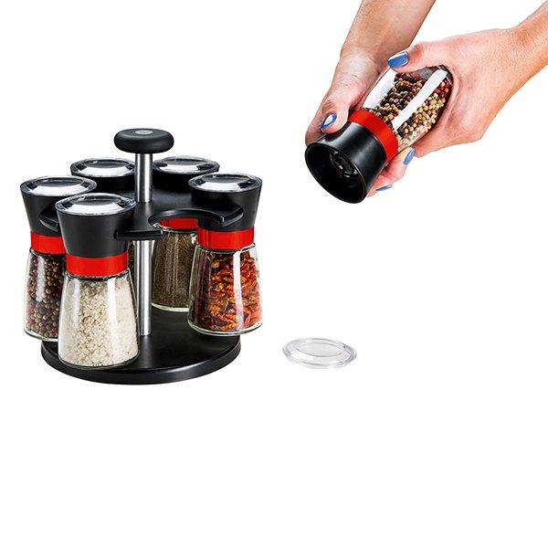 Set moulins pices sur socle rotatif moulins et boules for Set ustensiles de cuisine