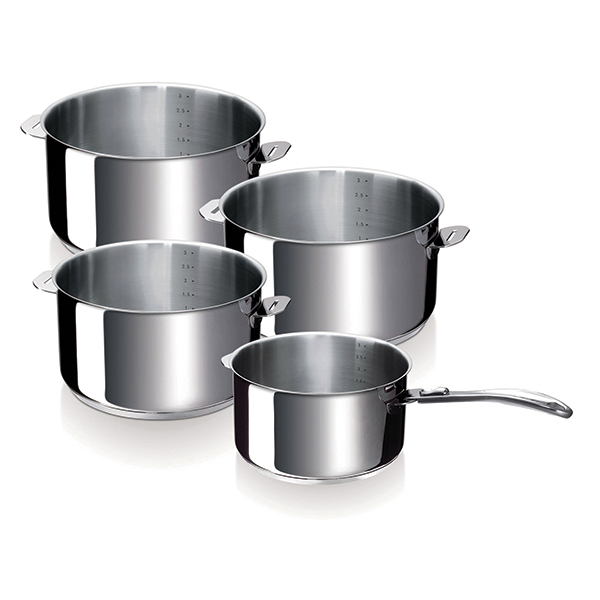 Set de 4 casseroles Evolution 14 à 20 cm et 1 manche Beka zoom