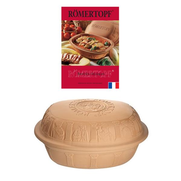 lot cocotte ovale terre cuite 42 5 cm et livre de recettes r mertopf cocottes et roasters. Black Bedroom Furniture Sets. Home Design Ideas