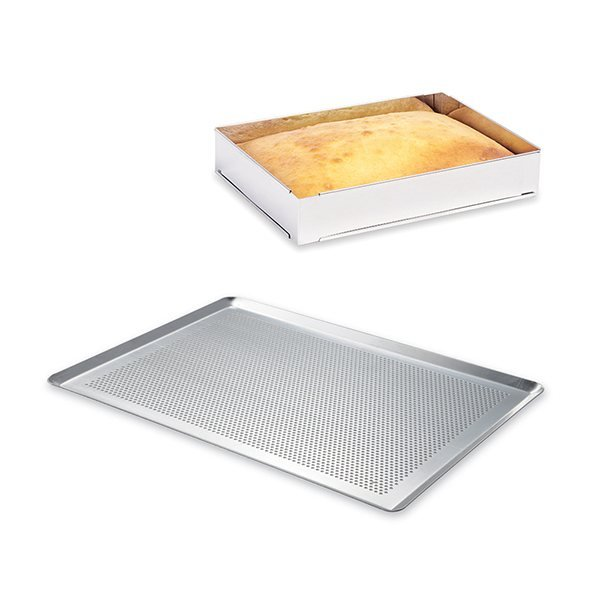Lot plaque à pâtisserie perforée 40 cm + rectangle à gâteau extensible Mathon zoom