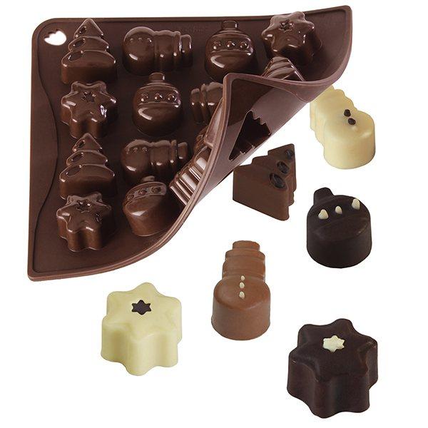 moule 16 chocolats de no l moules et plaques en silicone mat riel de p tisserie. Black Bedroom Furniture Sets. Home Design Ideas