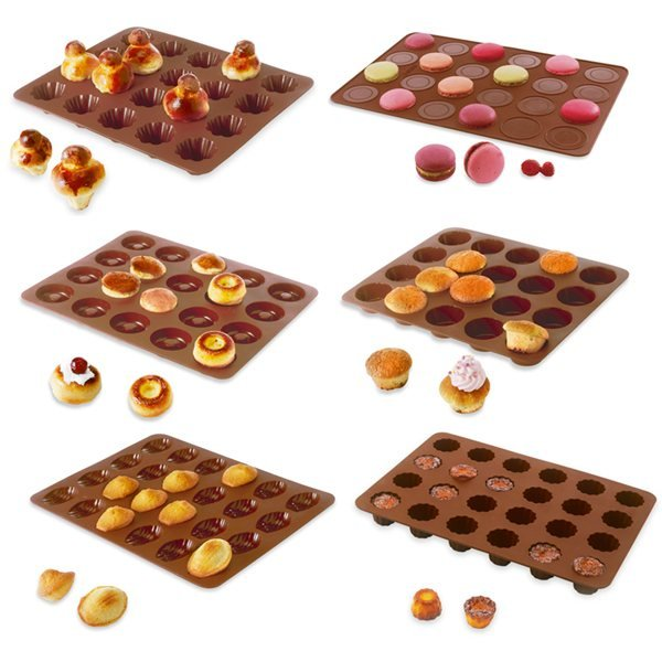 Lot de 6 Flexi'Plaques en silicone - Assortiment de mini-pâtisseries Mathon zoom