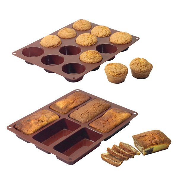 Lot de 2 Flexi'moules : 1 plaque 12 muffins + 1 plaque 6 cakes Mathon zoom