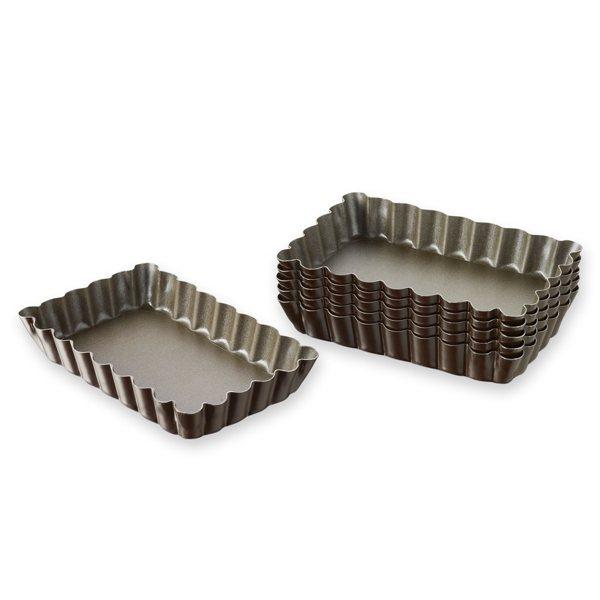 4 moules tartelettes rectangulaires fond amovible gobel moules et cercles tarte mat riel. Black Bedroom Furniture Sets. Home Design Ideas